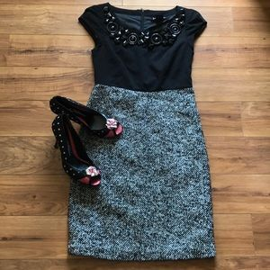 Kensie Pretty Combo Dress With Embellished Collar